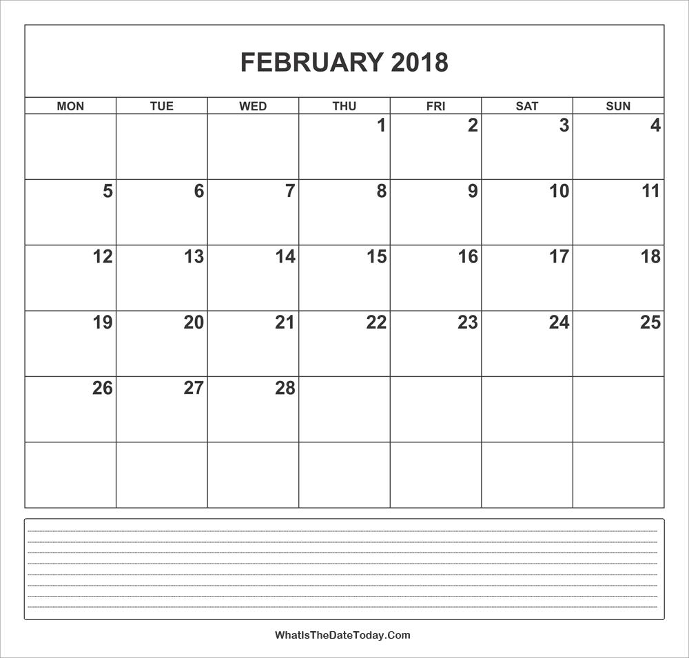 Calendar February 2018 with Notes | Whatisthedatetoday.Com