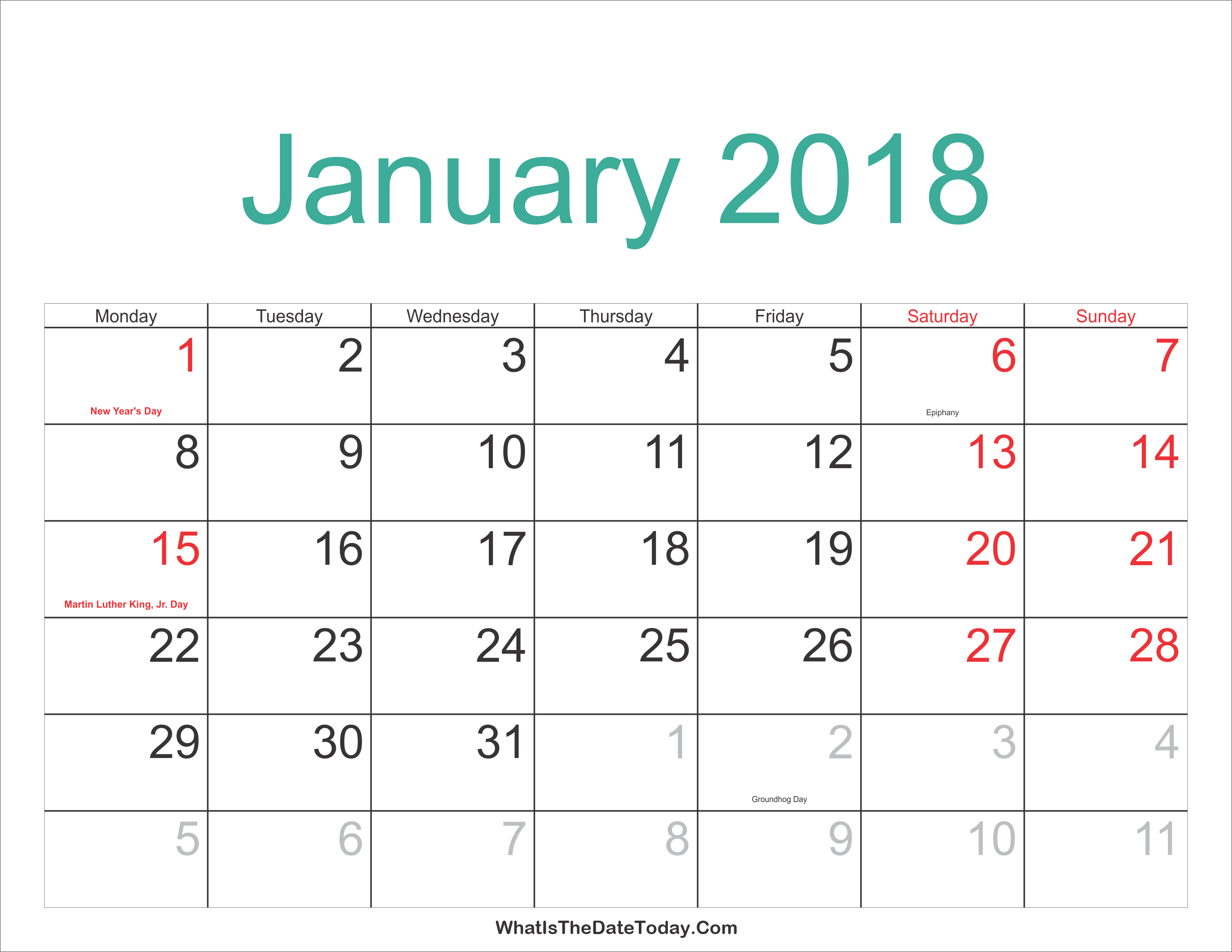 January 2018 Calendar Printable with Holidays | Whatisthedatetoday.Com
