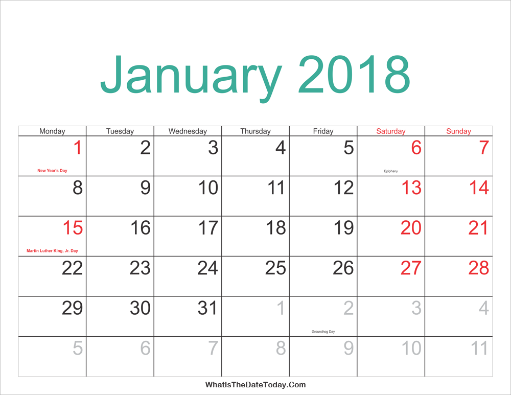 January 2018 Calendar Printable with Holidays | Whatisthedatetoday.Com