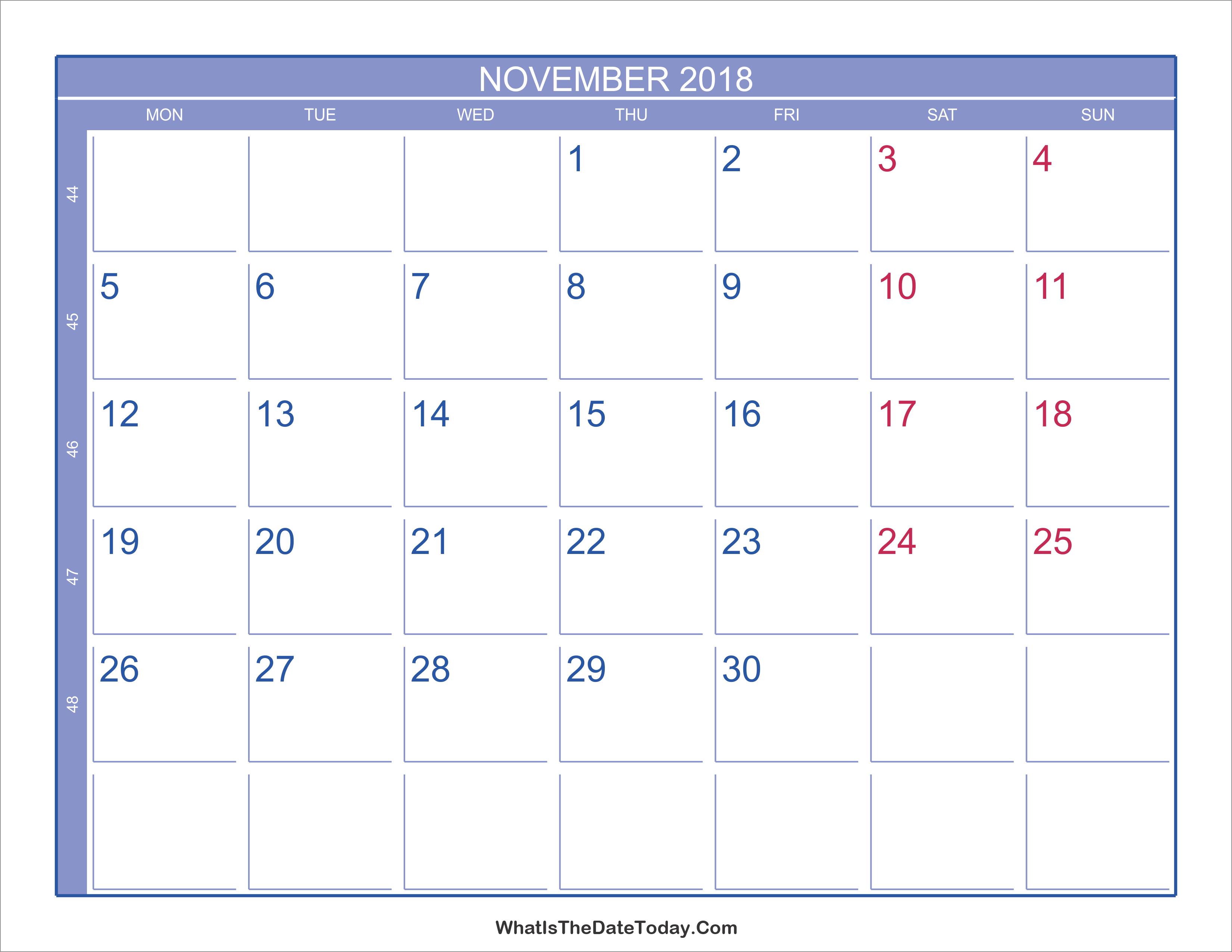 2018 November Calendar with Week Numbers ...
