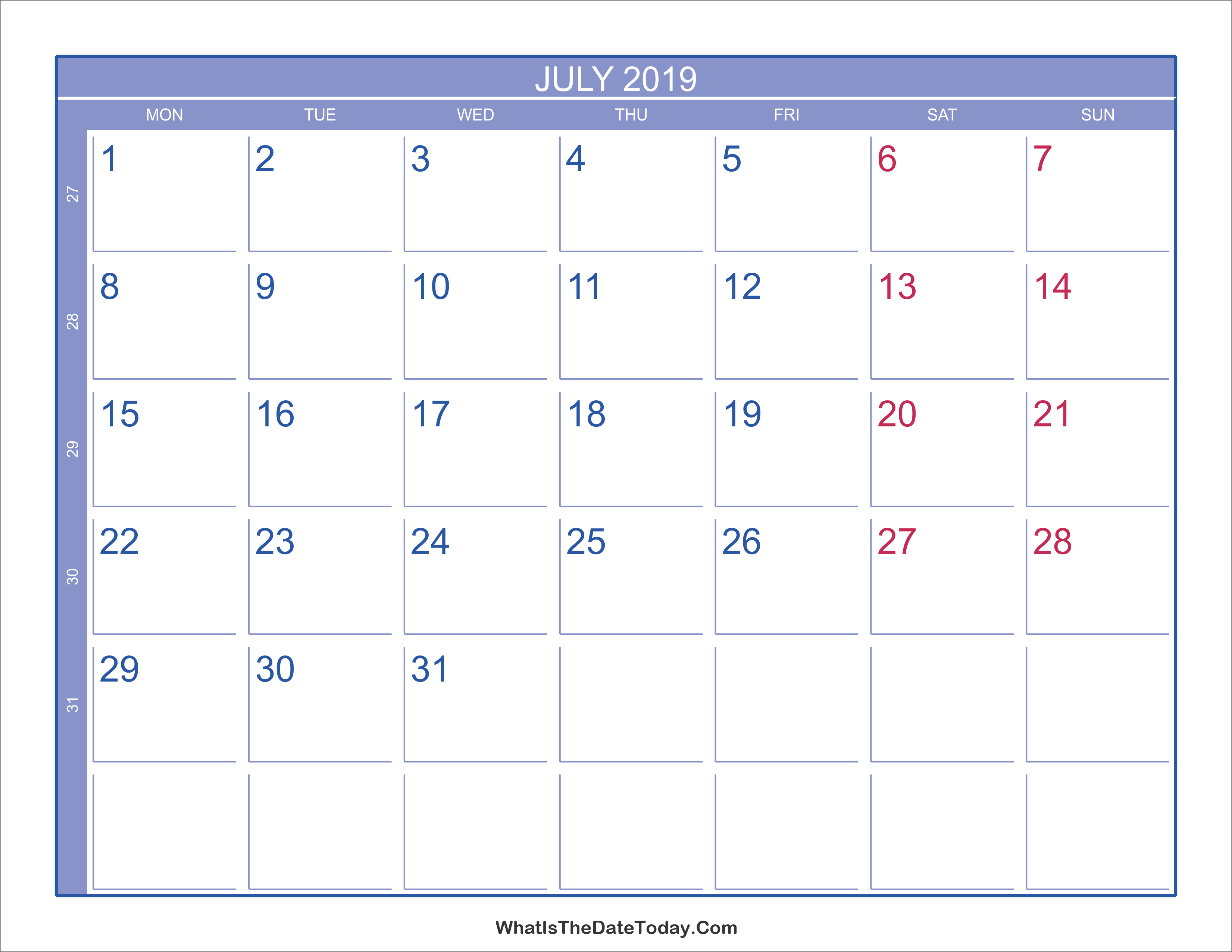 2019 july calendar with week numbers