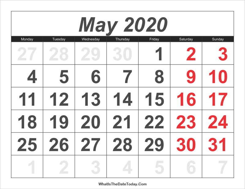 2020 Calendar May with Large Numbers | Whatisthedatetoday.Com