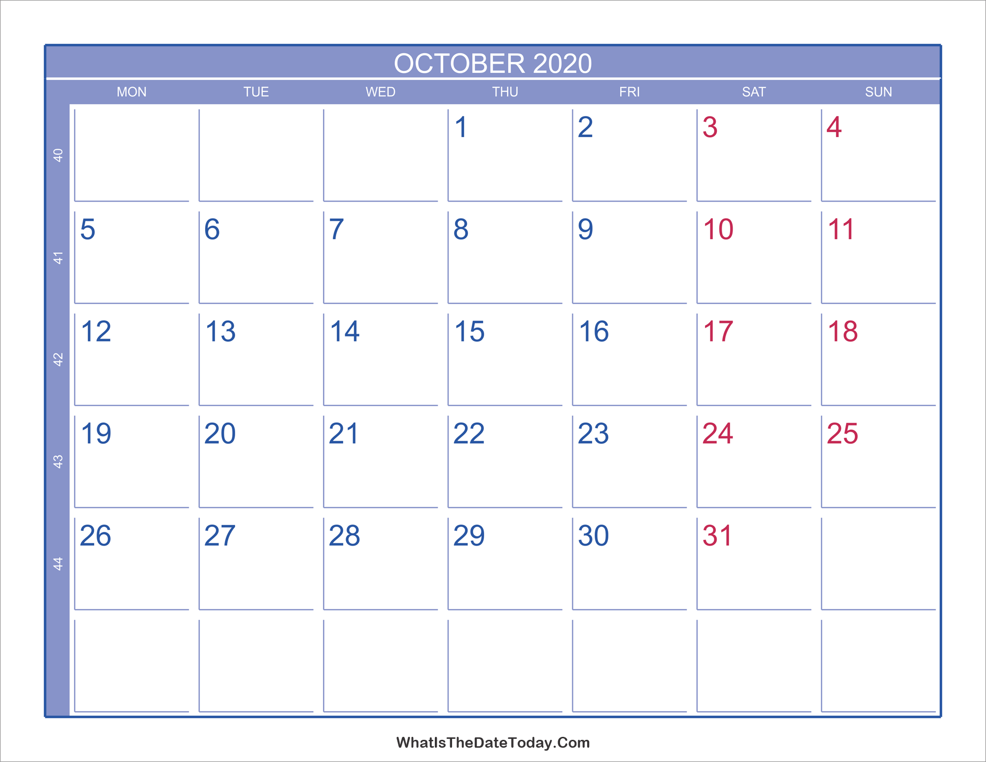 Calendar With Week Numbers 2020.2020 October Calendar With Week Numbers Whatisthedatetoday Com