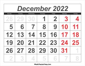 December 2022 Calendar Templates Whatisthedatetoday Com