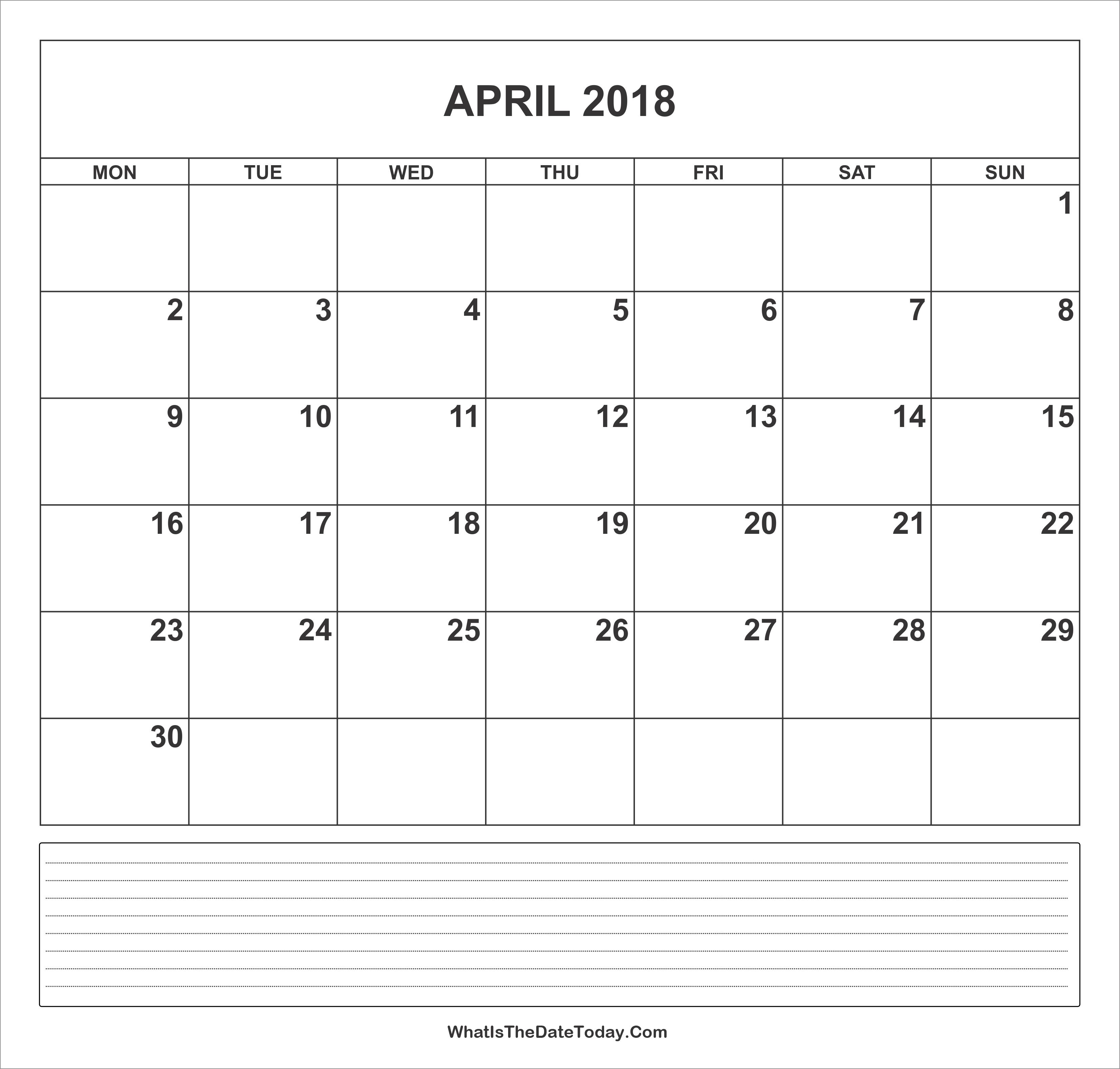 April Calendar Notes : Calendar april with notes whatisthedatetoday