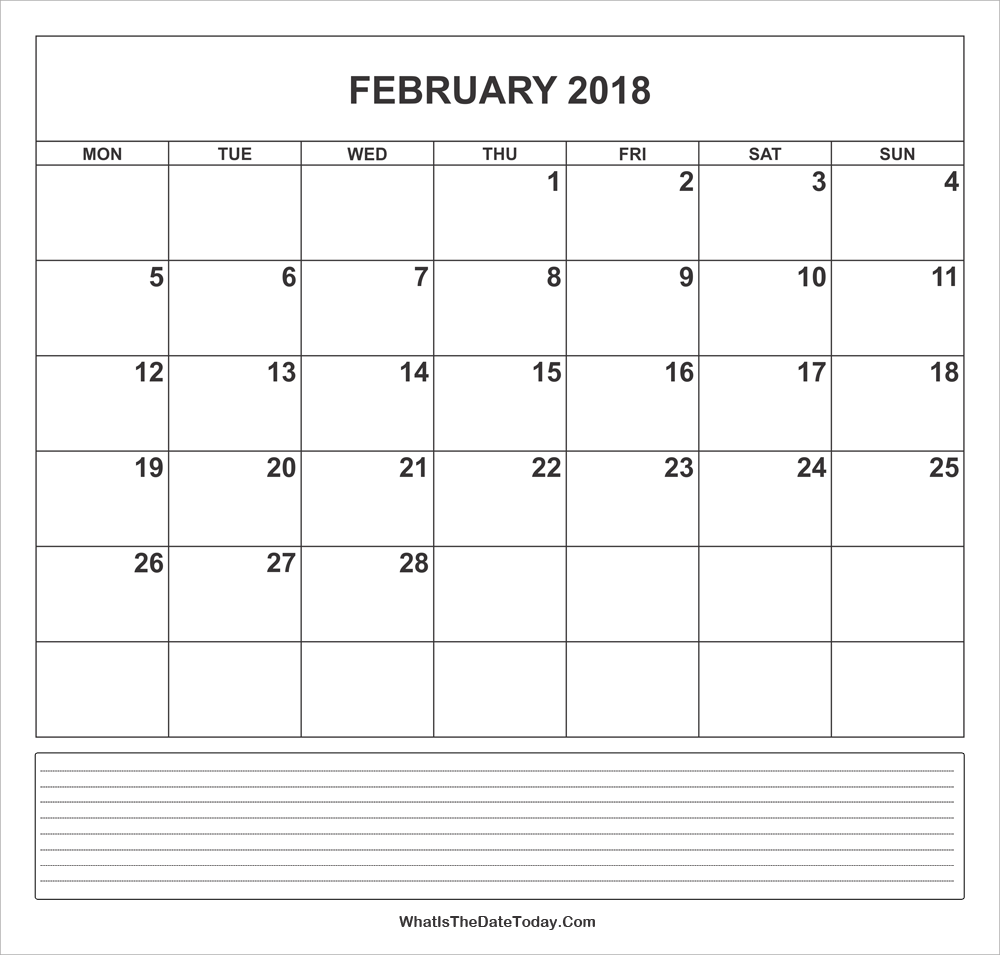 Calendar Monthly With Notes : Calendar february with notes whatisthedatetoday