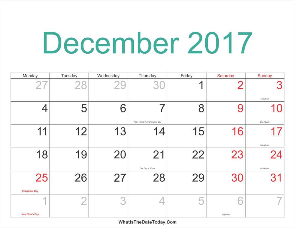 dec calendar 2017