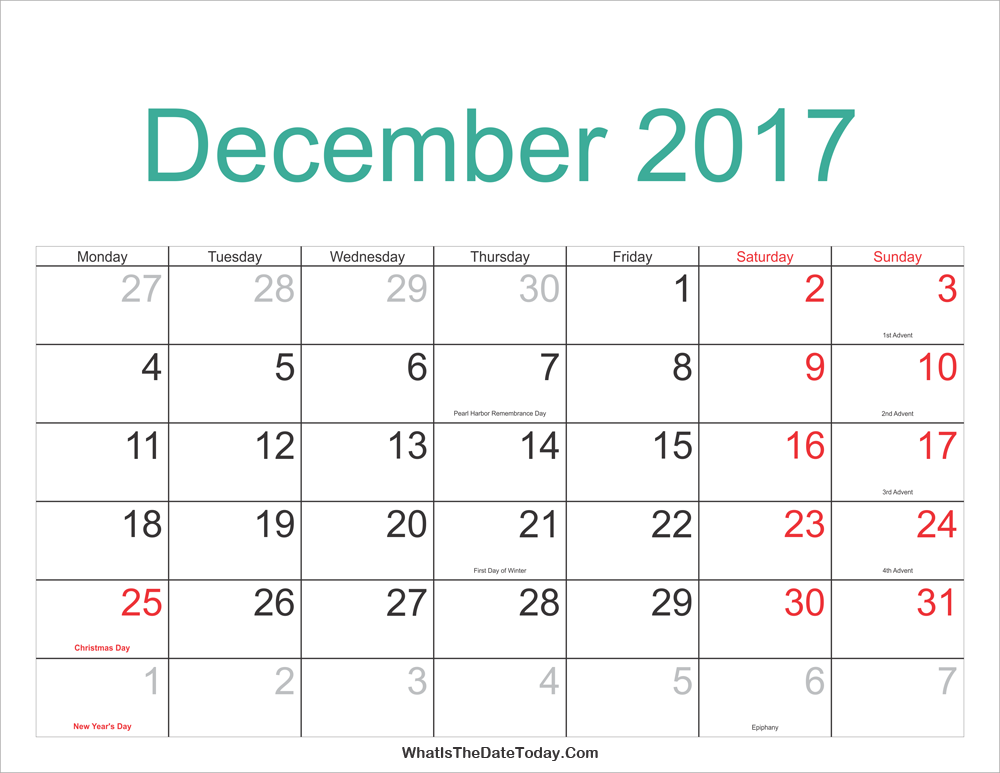 December 2017 Calendar Printable with Holidays ...