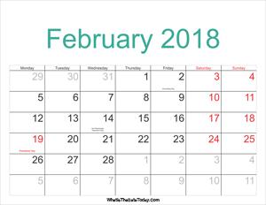 february 2018 calendar printable with holidays