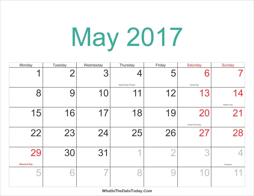 May 2017 Calendar Printable with Holidays | Whatisthedatetoday.Com