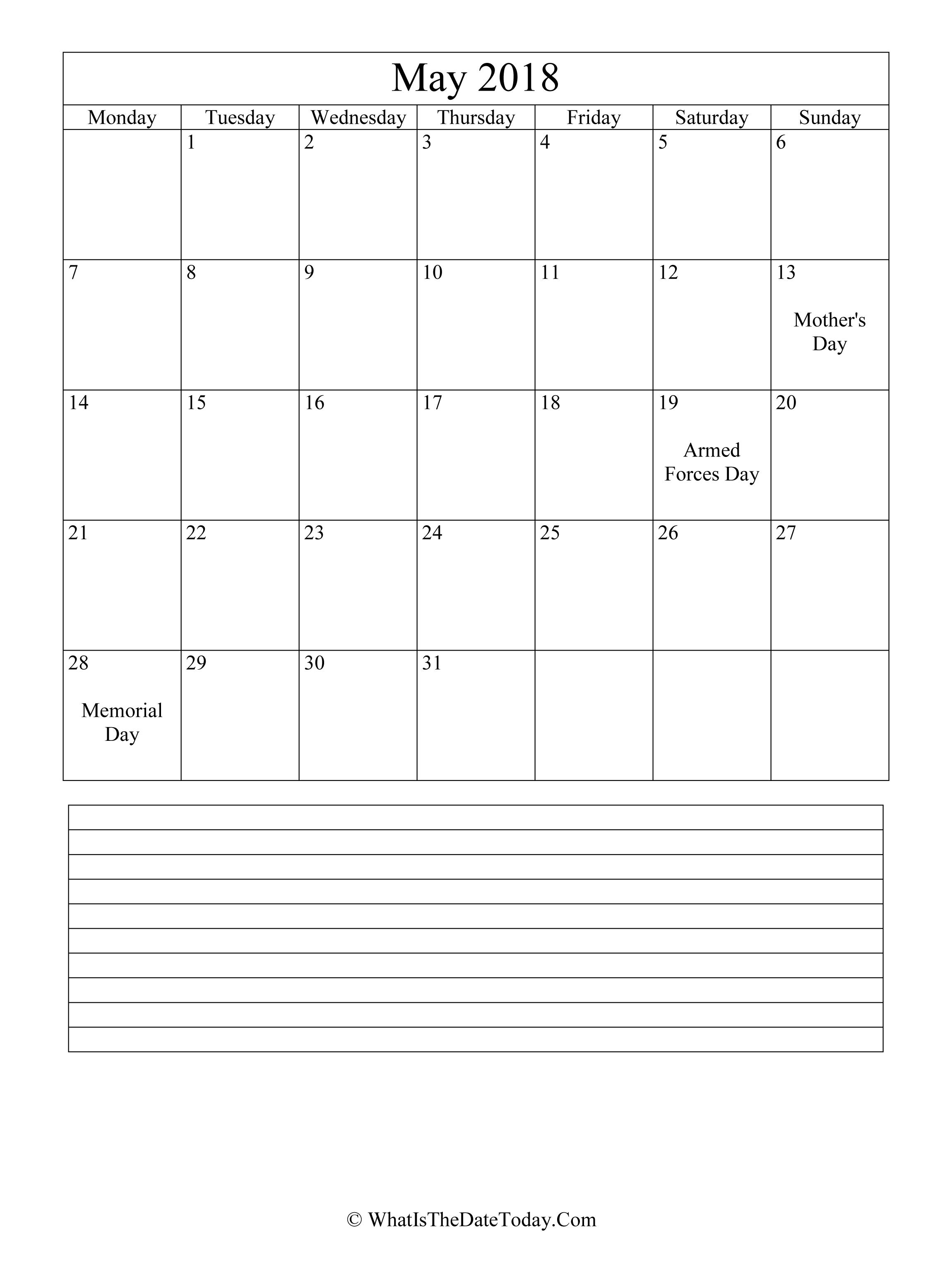version 2018 calendar
