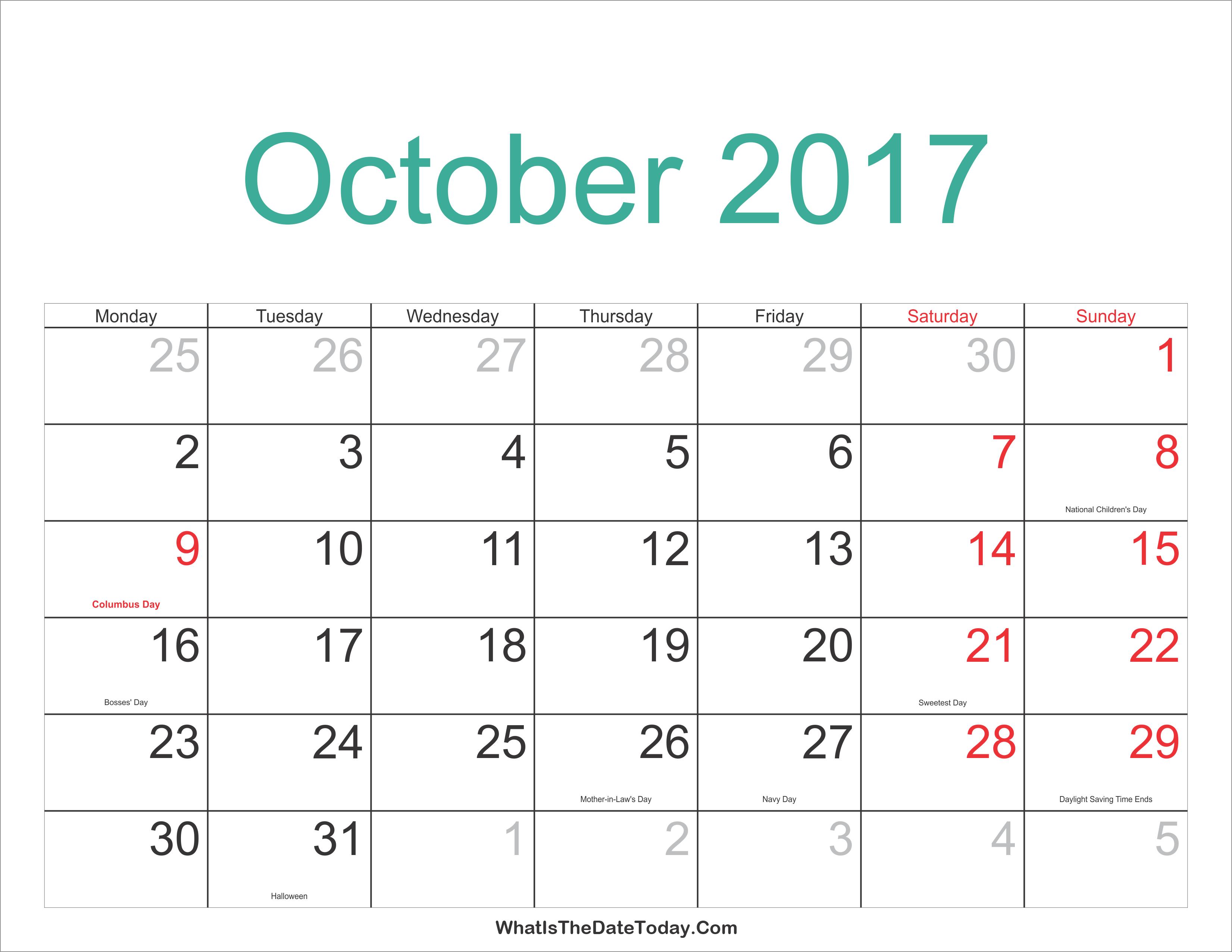 October 2017 Calendar Printable with Holidays | Whatisthedatetoday.Com